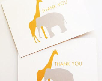 SAMPLE SALE - Giraffe & Elephant Thank you Notes - Folded cards - Set of 3