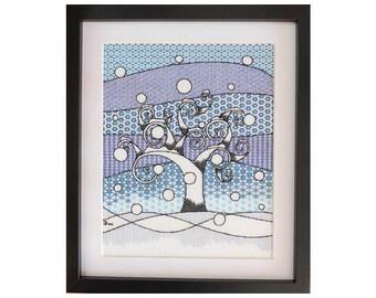 Winter Tree Blackwork Embroidery Kit