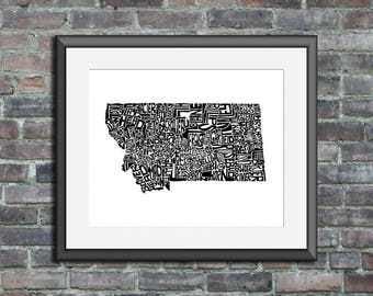 Montana typography map art unframed print customizable personalized state poster custom wall decor engagement wedding housewarming gift