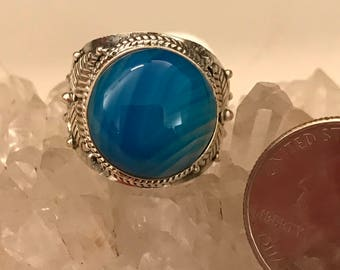 Blue Banded Onyx Ring, Size 8