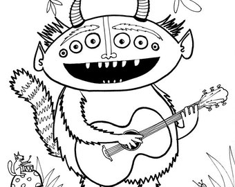 Monster playing guitar - Coloring page, instant download, music lover,  print yourself, kids of all ages, kid activity sheet,