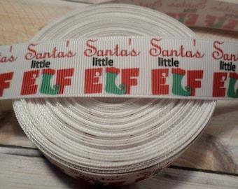 Santas little elf grosgrain ribbon, Christmas ribbon, Elf ribbon, , Santas little helper, grosgrain ribbon