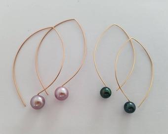 Tahitian pearl earrings, Edison pearl earrings, Tahitian pearl hoops marquis earrings threader gold filled sterling silver, rose gold filled