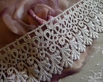 Silver Lace Trim Metallic Venise Leaves Wide Size for Costumes, Gowns, Home Decor, Crowns, Crafts, Cakes, DIY VL16S