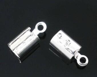 Lot 200 crimp caps silver 10x4mm