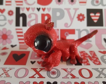 Lil Devil Valentine Gecko Lizard OOAK Custom Littlest Pet Shop Repaint