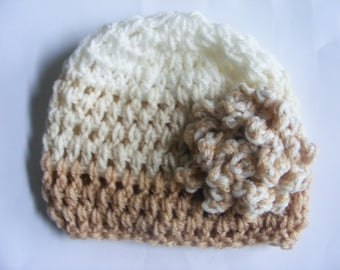 Tan, Cream and Soft White Flowered Hat NB through 5T for Baby and Toddler Girls
