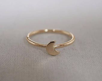 Solid Gold You Are the Moon Ring