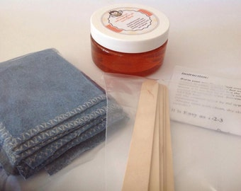 20% sale 10 oz Sugar hair removal gel+2 wooden spatulas+5cotton denim strips
