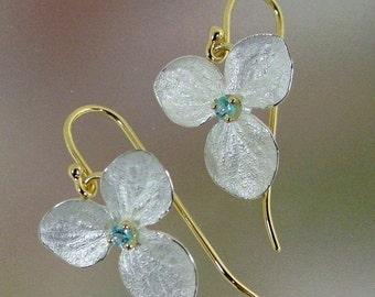 Blue Topaz Drop Earrings, Hydrangea Earrings, Silver Earrings, Flower Earrings, Silver and Gold Earrings, Made to order