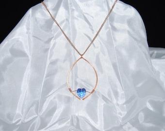 Blue Crystal Leaf Pendant necklace