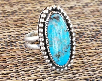 Kngman Turquoise and sterling silver ring size US 8