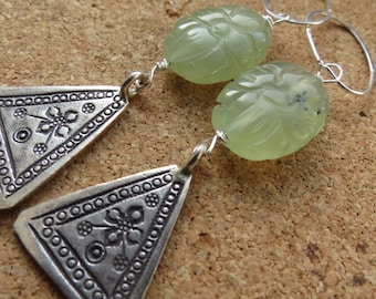 carved jade and Thai Karen silver earrings