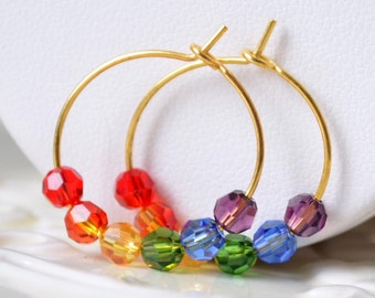 Rainbow Earrings, Gold Plated Hoops, Genuine Swarovski Crystal, Small and Lightweight, Fun Bright Colorful Jewelry