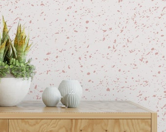 Pink speckle removable wallpaper / cute self adhesive wallpaper / paint splatter temporary wallpaper G184-27