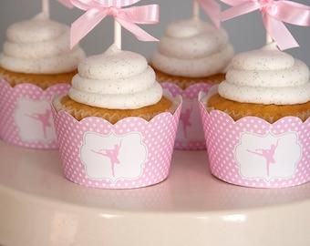 Ballerina Party Cupcake Wrappers - Ballerina Birthday Printables - Ballet Birthday - Dance Party
