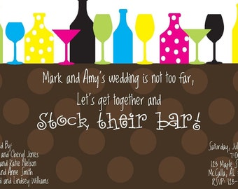 Stock the Bar Invitation; Stock the Bar Wedding Party Invitation; Custom Stock the Bar Invite