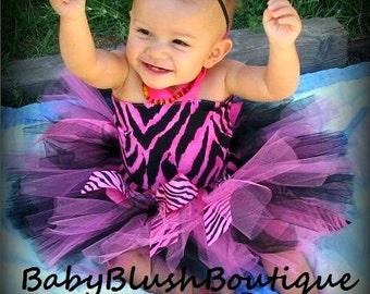 Tutu Baby Toddler Hot Pink & Black Zebra Tutu Outfit Costume Set 4 pc, Tutu, Stylish Top, Baby Shoes and Headband