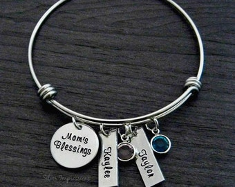 Charm Bracelet / Wire Bangle Bracelet / Mom's Blessings / Mother Jewelry
