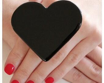 Statement Ring, Ceramic Ring, Black Heart Ring  - large ring, big ring, bold ring, fashion ring, black ring handmade ring by  StudioLeanne
