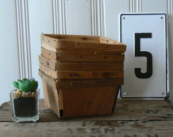 Five Vintage Quart Wooden Berry Boxes Strawberry Baskets