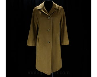 Size 12 Cashmere Coat - Large Brown Luxury Design - Cashmere & Mink Fur Blend - 50s 60s Tailored Tan Classic - Half Sleeve - Bust 42 - 47400