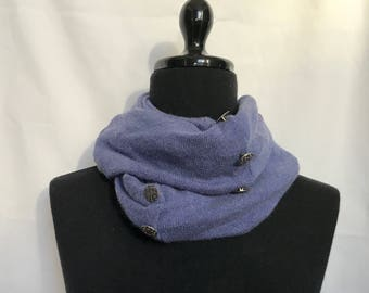 Lavender Infinity Cashmere Wool Scarf made from an Upcycled Sweater