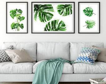 Botanical set art. Monstera watercolor original art.
