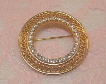 Vintage Circle Pin, Gold  Tone Brooch with Rhinestones