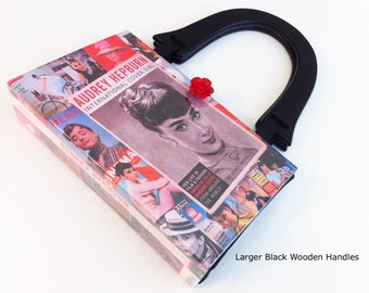 Audrey Hepburn Recycled Book Purse - Breakfast At Tiffanys Book Cover Purse - Audrey Hepburn Book Cover Pocketbook - Hollywood Collector