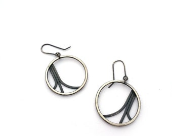 Sterling Silver Hoop Earrings, Diverge Earrings, Oxidized Silver Earrings, Modern Jewelry, Silver and Black Earrings