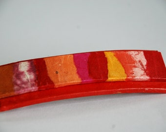 Red Hanji French Barrette Hair Pin OOAK Patchwork Orange Red Yellow Warm Colors Thick Hair Barrette Sturdy Stainless Steel Barrette Handmade