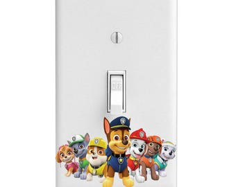 Paw Patrol, Kids Room, Dogs Light Switch Cover, Home Decor, Wall Decor, Lighting, Bedroom Decor, Kitchen Decor, Single light, Double Light
