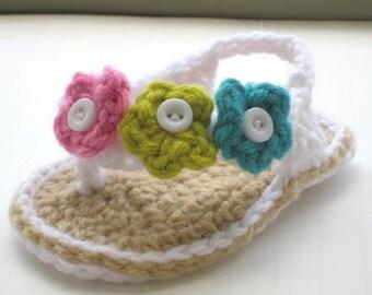 Crochet Booties Pattern, INSTANT DOWNLOAD, Pdf Crochet Pattern, Baby Flip Flops