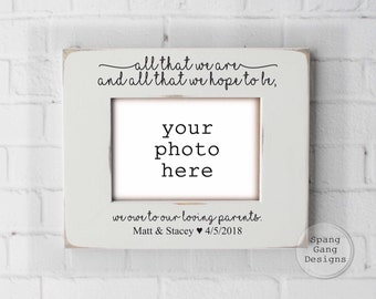 Wedding gift for parents of the Groom gift, Mother of the Groom, Father of the Groom, Mom Dad shower Thank You, Personalized Frame W03WeOwe