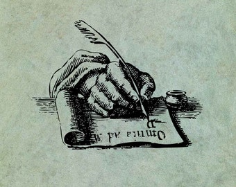 Hand Holding Quill Writing - Antique Style Clear Stamp