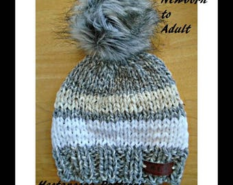 knit hat PATTERN - Newborn to Adult, Quick and easy, beginner level, knitting for baby, women, men, adults, kids, children, teens, #2098K