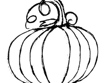 classic pumpkin-LARGE Red Rubber Stamp-Original design 00631, halloween rubber stamp, pumpkin rubber stamp, thanksgiving stamp, fall stamp