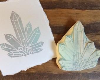 Crystal Cluster Hand Carved Rubber Stamp