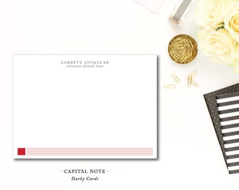 Capital Note Stationery | Flat A6 Stationery Flat Notecards with Blank Envelopes | Printed by Darby Cards Collective