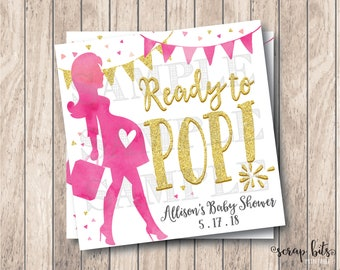 Personalized Printable Ready To Pop Tags, Printable Baby Girl Shower Tags, Printable Baby Shower Tags, Gold Glitter Ready to Pop