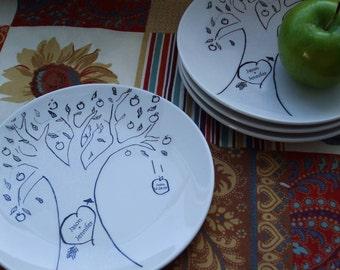 Gift, Holiday Dessert dishe Personalized Gift, Family Tree, plate Apple Tree - Folk Gift set4 custom china plates