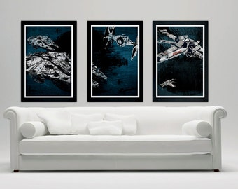 Star Wars Ships Poster Set, Millennium Falcon Galaxy