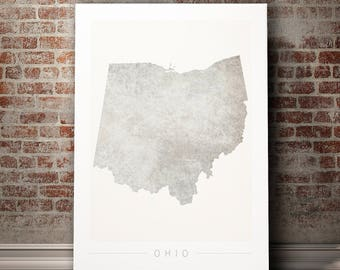 Ohio Map - State Map of Ohio - Art Print Watercolor Illustration Wall Art Home Decor Gift - COLOUR PRINTS