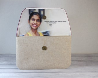 Personalized Photo Clutch Bridal Clutch Bridesmaid Mother Mother in law Gift Wedding Gift in Teal Green