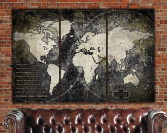Industrial World Map on Canvas,  Vintage Map, Large Wall art, Industrial art, Travel map, World Travel Map