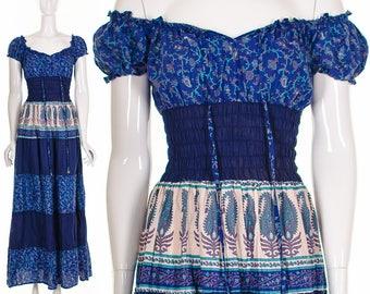 Indien-Gaze Kleid blau Paisley aus der Schulter langes Kleid Hippie Hippie Kleid seltene ethnische Kleid böhmischen Boho Kleid indischen Gaze kleine Med