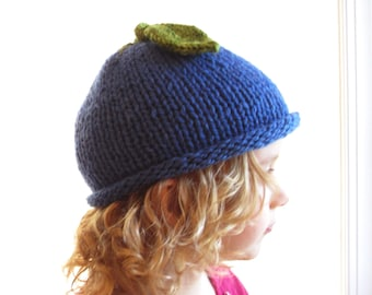 Blueberry Hat - Soft Hand Knit - Toddler Child size - Made to Order