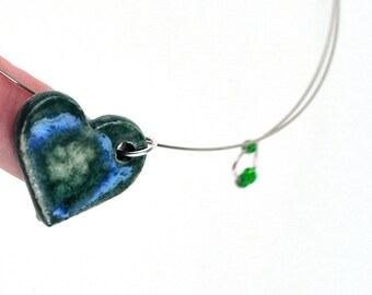 Ceramic Necklace Love Heart Blue Green Handmade Pottery Pendant on memory wire with Green Seed Beads