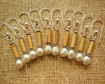 Kauai Bamboo Jewelry - Hawaiian Bamboo and White Pearl with Silver Earrings